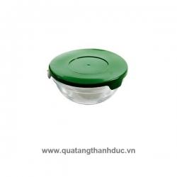 Thố Thủy Tinh Nắp Nhựa Xanh Indo TNNID02